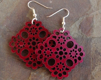 Sustainable Wooden Hook Earrings - Lace - in Red Stained Maple Sustainably Harvested Wood Dangle Earrings