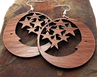 Moon and Stars Sustainable Wooden Earrings - Sustainably Harvested Walnut Wood Dangle Earring - large