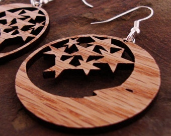 Sustainable Wooden Earrings - Moon and Stars - in Oak - small