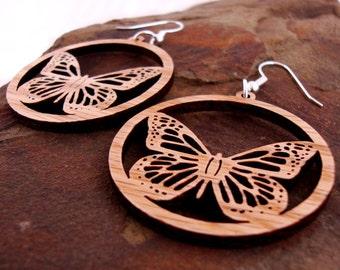 Sustainable Wooden Earrings - Monarch Butterflies - in Oak - small