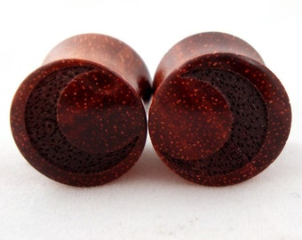 "Crescent Moon Bloodwood Wooden Plugs PAIR 2g (6.5mm) to 1 3/4"" (44mm) including 0g (8 mm) 00g (9 mm) 11 mm 13 mm 14 mm 16 mm Wood Ear Gauges"