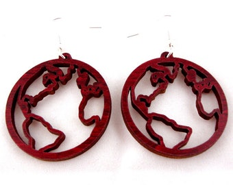 Globe Sustainable Wooden Hook Earrings - Earth Wood Dangle Earrings - Our Planet in Red Stained Maple