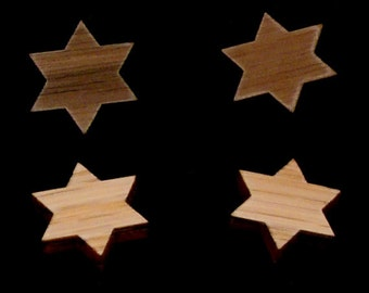 Sustainable Wooden Post Earrings - Star of David- in Oak, Walnut, or Red Stained Maple - Wood Studs