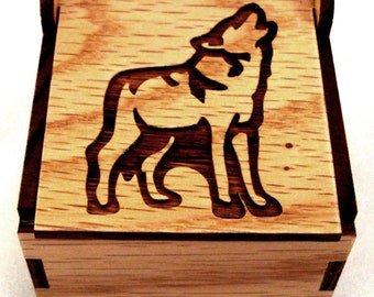 Sustainable Wooden Box - Wolf - Oak - Trinket Box