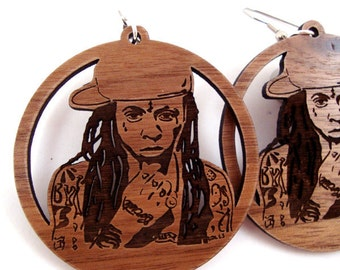 Lil Wayne - Sustainable Wooden Earrings - in Walnut