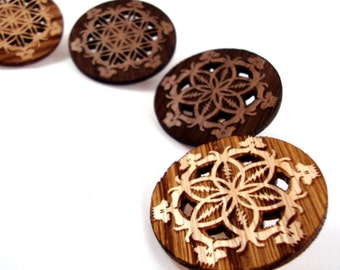 GD Inspired Flower of Life Hat Pins - Sustainably Harvested Oak and Walnut