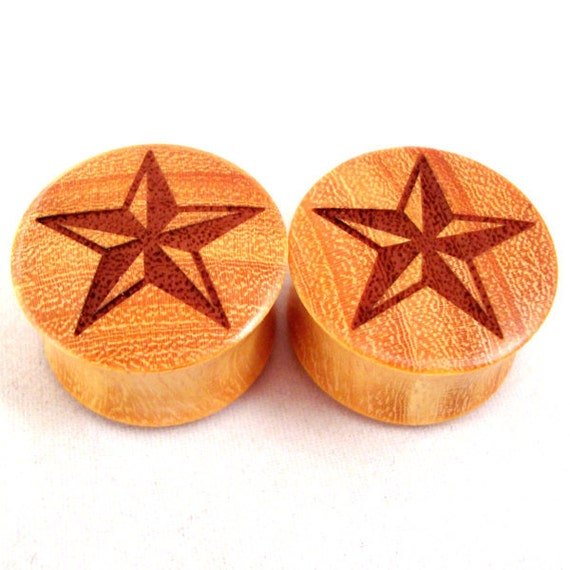 """Star graphic Wooden Plugs - 0g (8mm) 00g (9mm) 7/16"""" (11mm) 1/2"""" (13mm) 9/16"""" (14mm) 5/8"""" (16mm) 3/4"""" (19mm) Wood Gauges"""