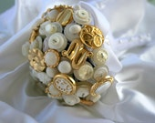 Reserved for Stephanie Button Bridal Bouquet-Ivory and Gold
