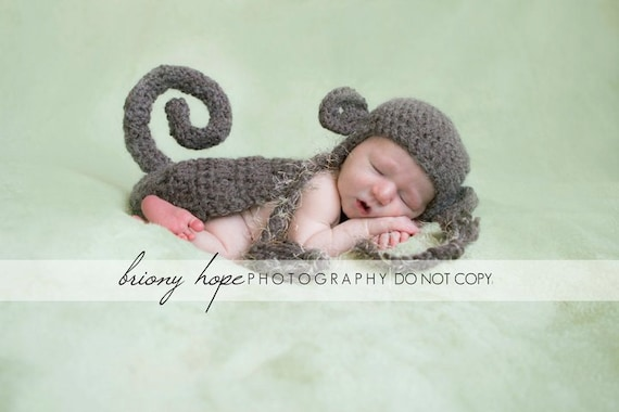Monkey Hat and Cape Newborn Photography Prop