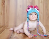 Berry Punch Owl Hat with Earflaps and Tassels