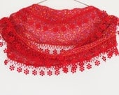 Traditional Turkish Woven Scarf With Lace, Floral,Red