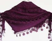 PASHMINA SCARF With Floral Lace, Winter Trends, For Women, PURPLE