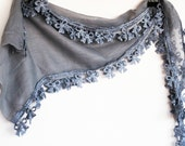 SMALL BOWS Cotton Scarf With Lace, 2012 Trends, Fashion, For Gift, Organic Scarf