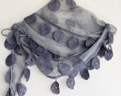 GRAY Cotton Scarf With Lace, Fashion, For Gift, Wedding