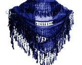 NAVY BLUE Organic Cotton Scarf With Fringed Lace, Fashion, For Gift