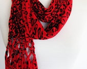 Red Leopard Cotton Fringed Scarf, Women Fashion, Gift, Headband, Cowl