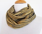 GOLDEN STRIPED Cotton Scarf / Loop, Mothers Day, For Gift, Spring Sale