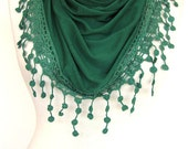 Dark Green Cotton Scarf / Shawl With Fringed Lace, Fashion, Women, Gift, Summer