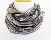 Black and White Striped Cotton Scarf / Loop, For Spring, Fashion, Mothers Day Gift