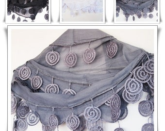 SPIRAL Cotton Scarf With Lace, Organic, For Gift, 2012 Trends, For Her, WHITE