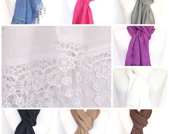 Snow White Cotton Scarf  / Shawl With Fringed Lace, Fashion, Wedding, Woman Accessory