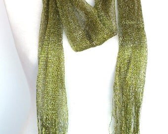 Silvery Green Scarf / Shawl  With Fringed, Accessory, Necklace,  Wedding, Spring Sale