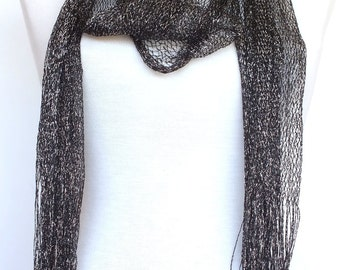 Silvery Black Scarf / Shawl  With Fringe, Accessory, Necklace,  Wedding, Spring Sale