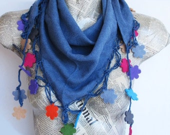 Denim Blue Pashmina Scarf With Colorful Felt Flowers and Crochet Lace, Fashion,  For Gift