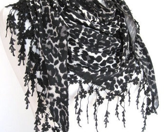 PRETTY WOMAN Scarf Or Shawl With Lace, Fashion, 2012 Trends, For Gift, Black Leopard