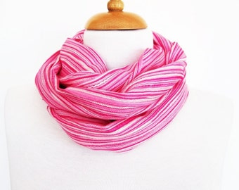 Pink and White Striped Cotton Scarf / Loop, Mothers Day, Gift, Spring Sale