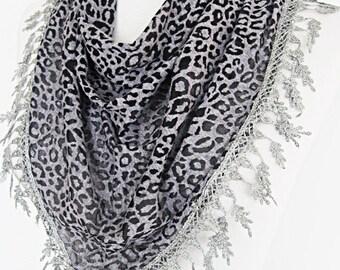 Gray Transparent Leopard Scarf / Shawl With Lace, Gift,  Sale, Fashion, Wedding, Grey