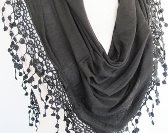 Black Organic Cotton Scarf With Fringed Lace, Summer Trend, Headband, Cowl, Shawl