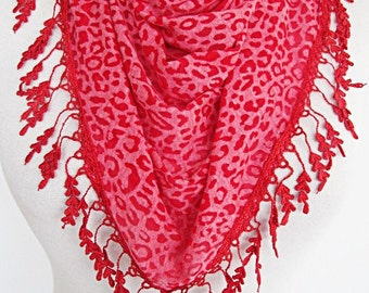 Red Transparent Leopard Scarf With Lace,  Gift,  Sale, Fashion, Wedding