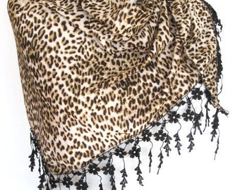 PRETTY WOMAN Scarf Or Shawl With Lace,  For Gift, Brown Leopard