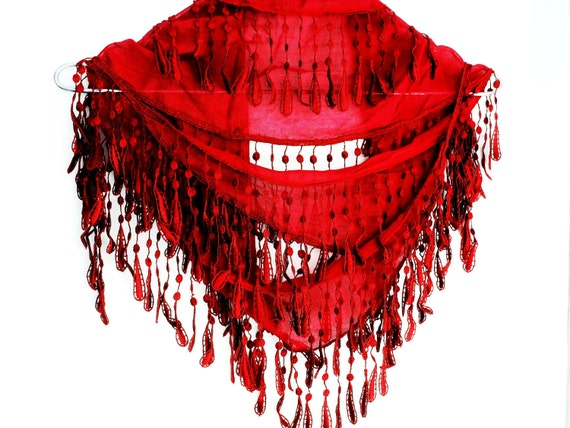 RED Organic Cotton Scarf With Fringed Lace