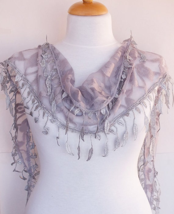 Light Gray Scarf With Lace, Fashion, Wedding, For Gift