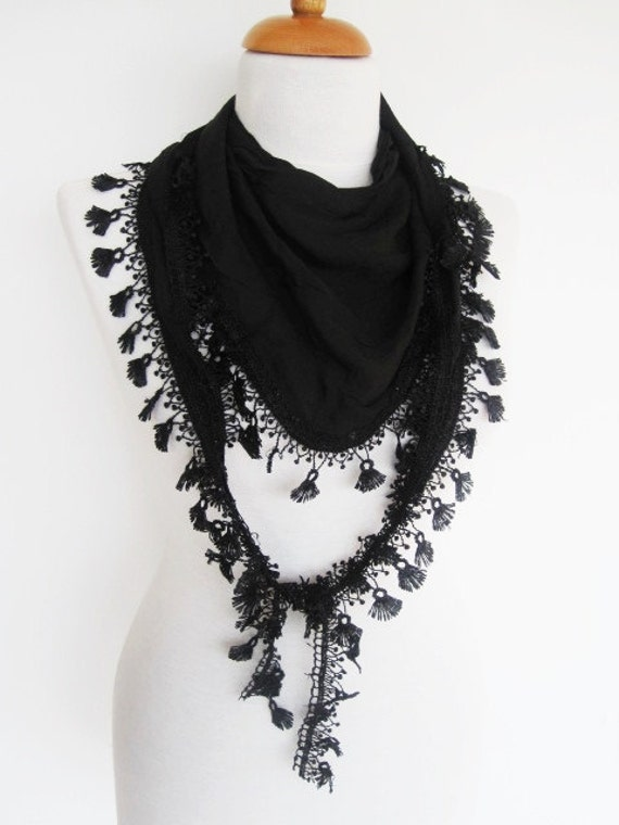 Black Scarf With Fringed Lace, Mothers Day, Spring, Gift