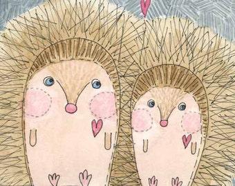 Childrens Decor, Nursery Decor,  Kids Art  - Mabel & Sid - Hedgehog Love - Limited Edition 8x10 Print by Jennie Deane