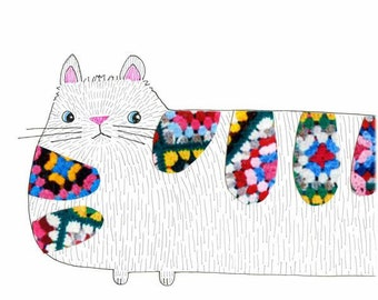 Childrens Decor - Nursery Decor, Kids Art - Fur Ball, Crocheted Cat - Limited Edition 8x10 Print by Jennie Deane