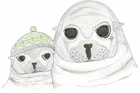 Childrens Decor, Nursery Decor, Kids Art,  Seal & Cub - Limited Edition 8x10 Print by Jennie Deane