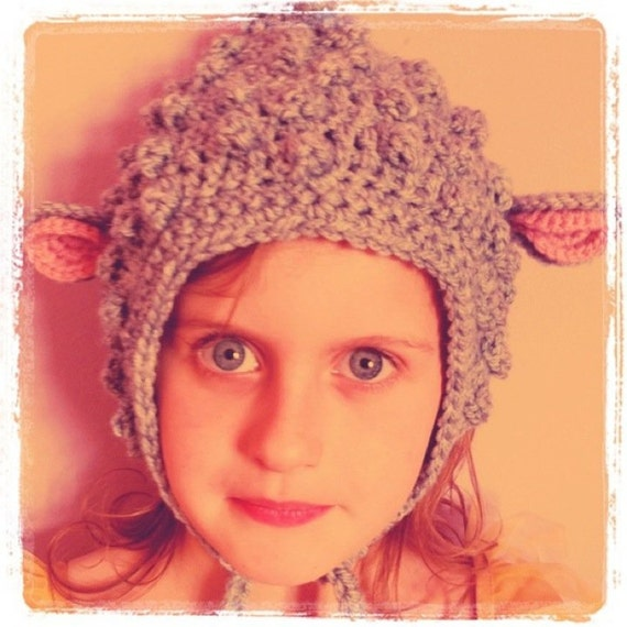 Crochet pattern. Little bobbly lamb bonnet. Many sizes