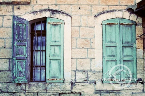8x12 turquoise shutter photograph nazareth by amber sue photography