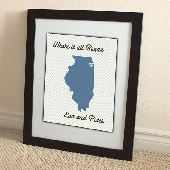 illinois chicago wedding couple personalized 8x10 50 states custom photo gift by Amber Sue Photography
