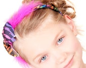 Multi colour Zebra bow headband with hot pink feathers and swarovski crystals