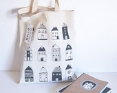Tote Bag - Little Houses - Cotton tote - hellopenny
