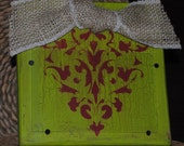 Lime green with red damask, distressed picture frame, 4x6 slide-in frame, frames, great gift idea