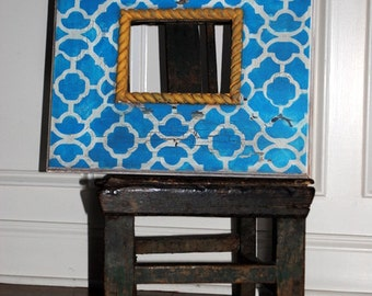 Picture frame distressed vintage picture frame 5x7 inch frame opening Moroccan design teal white & mustard gift idea birthday wedding baby