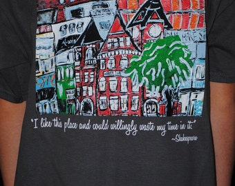 HOOTENANNY t-shirt with print of 'Auburn Skyline' from original painting...Youth Sizes