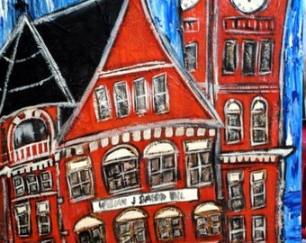 """Original Auburn art...""""All About Auburn"""" painted on stretched canvas...large painting of Samford Hall...mixed media art"""