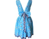The Sky Blue Cotton 50s Style Backless Dress with Bow Sash Size L
